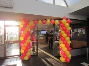Balloon arch at Entrance — at McDonald's Brookvale.