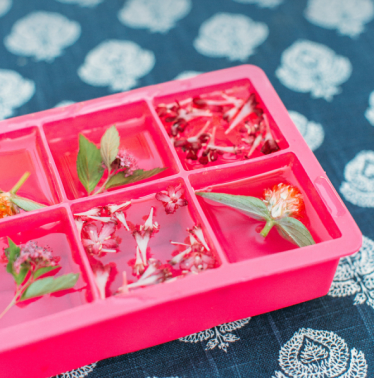 DIY floral flower ice cubes party recipe ideas decorations