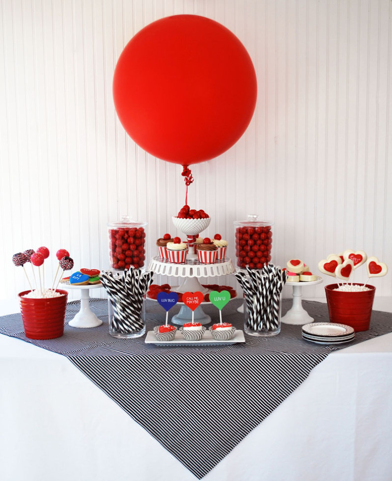 Valentines Day DIY party supplies easy confectionary candy buffet