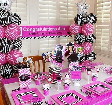 Pink zebra print party ideas the party people online for Animal print party decoration ideas
