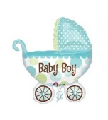 Balloon - Foil Super Shape, Baby Boy Pram