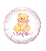 Balloon - Foil, Baby Girl Teddy