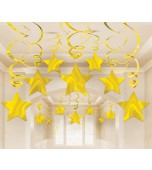 Ceiling Decoration - Shooting Stars 30 pk Gold