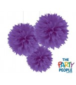Ceiling/Hanging Decoration - Fluffy, Purple 3 pk