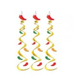Ceiling/Hanging Decoration - Chilli Whirls 3 pk