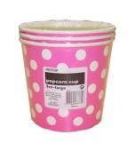 Popcorn Cups - Polka Dots, Pink 3 pk