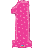 "Balloon - Foil Number, Uninflated Pink ""1"""